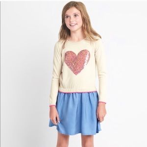 GAP Kids TENCEL™ Hearts Sequin Sweater Dress